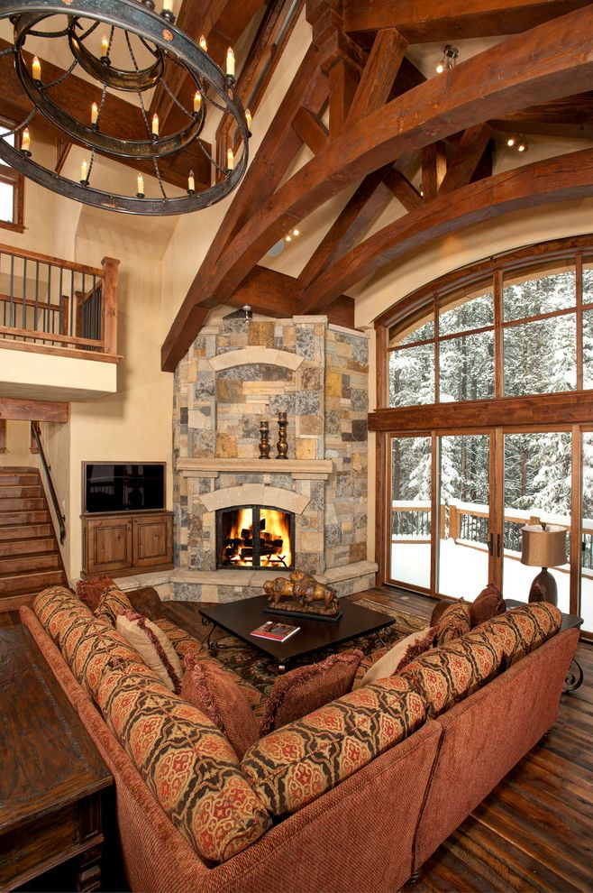 Snows Furniture   Contemporary Living Room Also Cabin Corner Fireplace Corner Sofa Dark Floor High Ceilings Lodge Ring Chandelier Roof Truss Sectional Sofa Sloped Ceiling Snow Tall Ceilings Tiered Chandelier Vaulted Ceiling Winter View Wood Flooring
