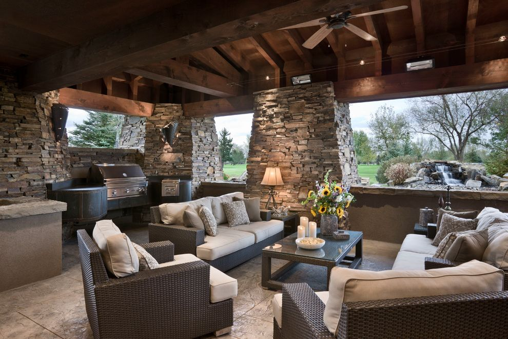 Snows Furniture with Rustic Patio  and Built in Bbq Grill Ceiling Fan Outdoor Furniture Stone Columns Stonework Tapered Columns Timber Wood Ceiling