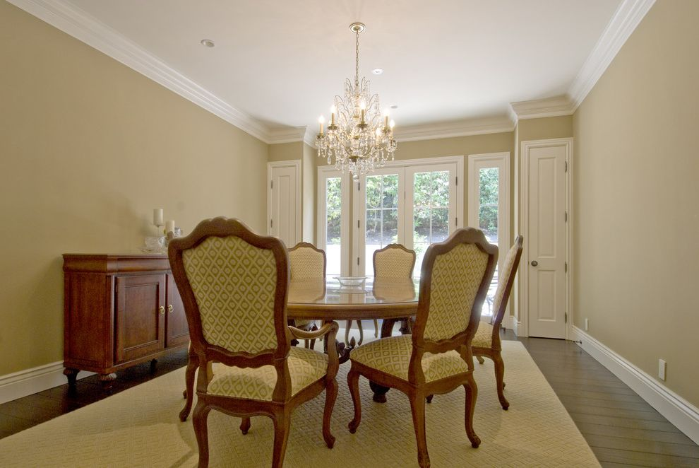 Spray Tan Cost   Traditional Dining Room  and Buffet Chandelier Credenza Crown Molding Dark Stained Wood French Windows Glass Doors Italianate Louis Chairs Sideboard Storage Upholstered Chairs