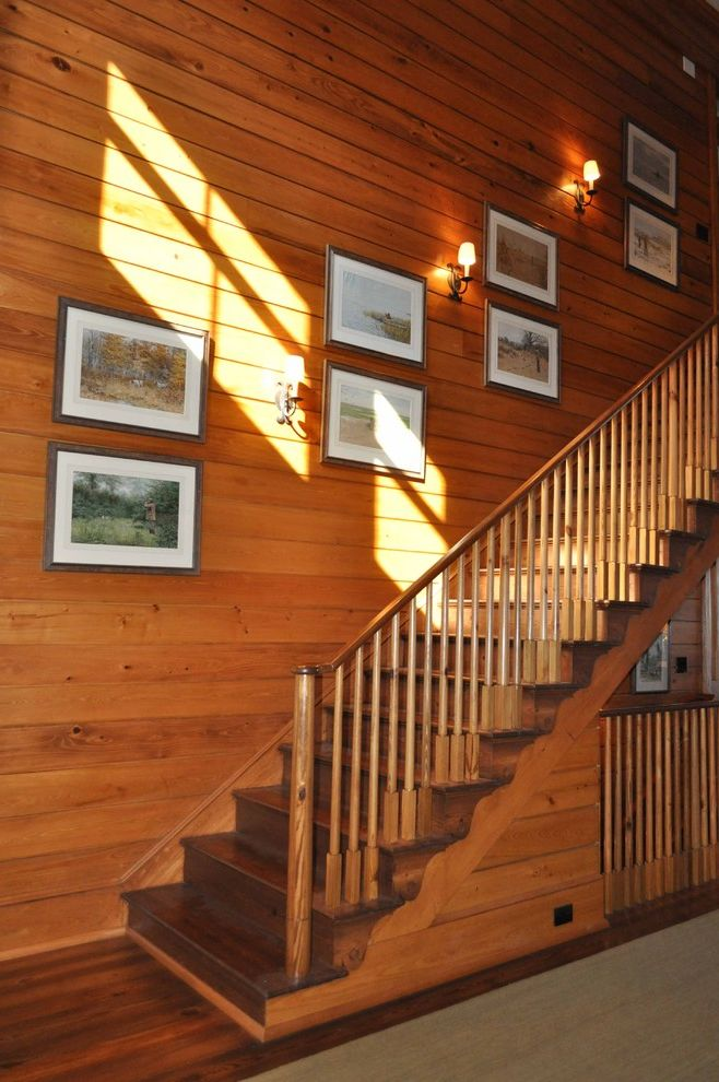 Staircase in the Woods with Traditional Staircase  and Cabin Hardwood Floors Staircase Wood Banister Wood Planks Wood Railing Wood Staircase Wood Walls