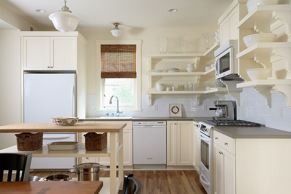 Stardust Building Supplies   Traditional Kitchen Also Butcher Block Countertops Kitchen Shelves Pendant Lighting Schoolhouse Pendant Shaker Style Subway Tiles Tile Kitchen Backsplash White Appliances White Kitchen Wood Flooring
