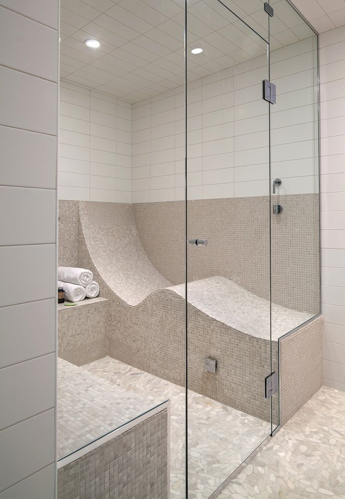 Steam Shower Kit   Contemporary Bathroom  and Bathroom Beige Bathroom Beige Tile Chrome Hinges Fitted Bench Glass Glass Door Glass Partition Hinges Sauna Shower Shower Lights Stainless Steel Hinges Steam Shower Tile White Bathroom White Tile