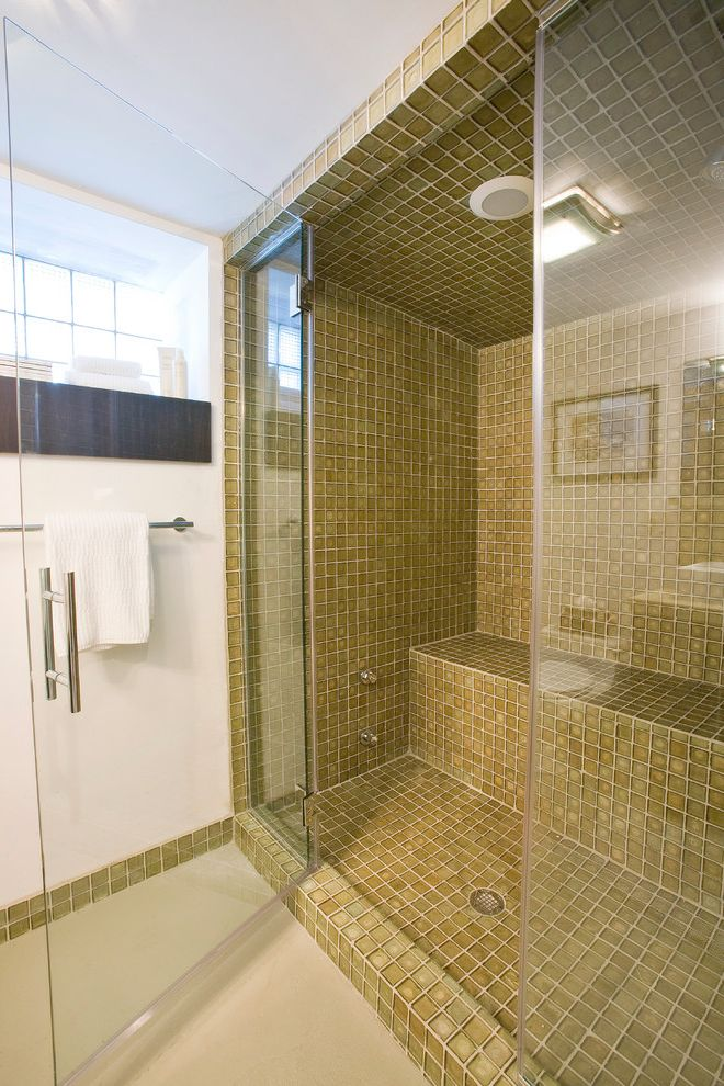 Steam Shower Kit with Contemporary Bathroom Also Basement Renovation Bathroom Built in Shower Bench Glass Shower Door Leaded Glass Steam Shower Tile Towel Rack White Walls