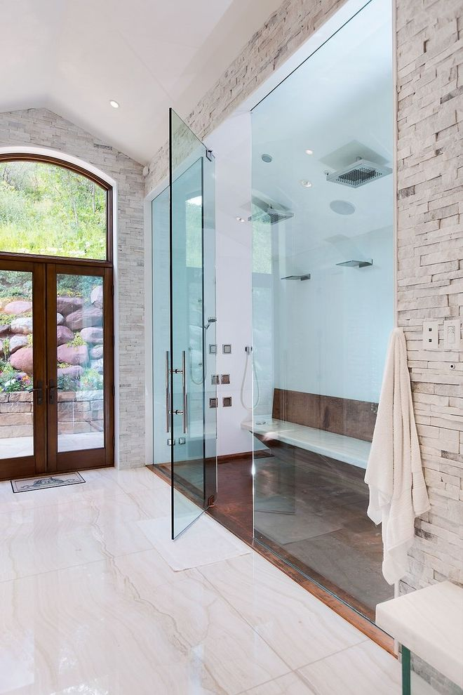Steam Shower Kit with Contemporary Bathroom Also Beige Floor Tile Copper Shower Pan Custom Shower Pan Double Shower Frameless Shower Glass Raw Copper Pan Shower Bench Stone Tile