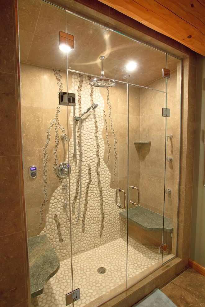 Steam Shower Kit with Eclectic Bathroom Also Beams Glass Shower Doors Knotty Pine Log Home Mosaic Rain Shower Shower Bench Shower Enclosure Stone Shower Tile Walls Wall Mural