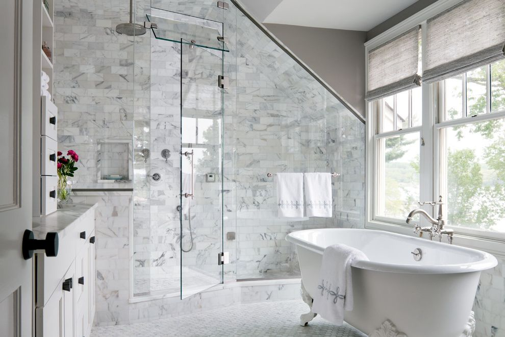 Steam Shower Kit with Transitional Bathroom Also Claw Foot Tub Glass Door Glass Shower Glass Wall Gray Ceiling Lots of Natural Light Natural Light Rain Showerhead Recessed Shelf Sloped Ceiling White Vanity