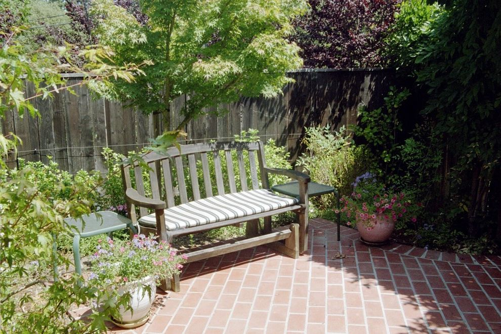 T&d Furniture   Traditional Patio  and Brick Paving Container Plants Garden Garden Bench Maple Outdoor Cushions Patio Furniture Potted Plants Wood Fencing