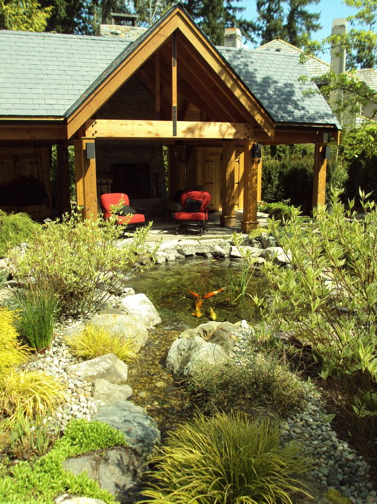 T&d Furniture with Eclectic Landscape  and Aquatic Garden Boulders Covered Patio Grasses Koi Pond Patio Furniture Pond Rocks Water Feature Water Garden