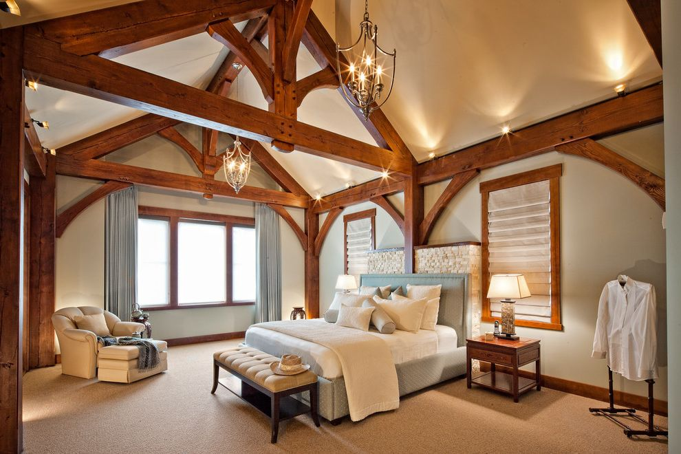 T&d Furniture with Traditional Bedroom Also Bedroom Bench Blue Curtains Blue Upholstered Bed Cathedral Ceiling Exposed Beams Roman Shades Structural Beams Timber Frame Timberframe Traditional Truss Uplighting West Coast Homes