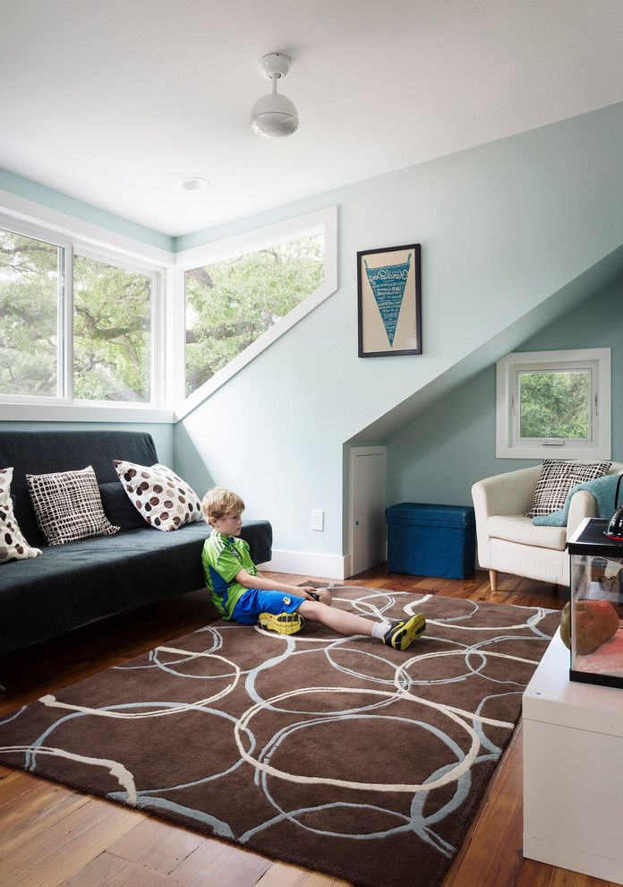 Terrarium Definition   Contemporary Kids  and Area Rug Arm Chair Blue Brown Ceiling Fan Corner Window Light Blue Pillows Playroom Settee Stool Terrarium White Casing Windows Wood Floor