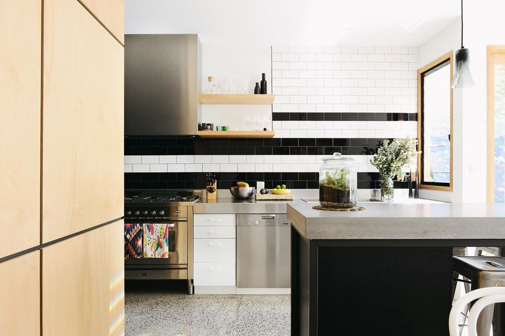 Terrarium Definition with Contemporary Kitchen  and Alteration and Additions Black and White Black and White Backsplash Black Stripes Cottage Gray Countertop North Fitzroy Pendant Light Reovation Urban