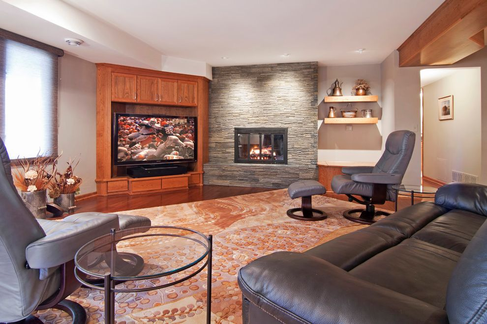 The Corner Tv Show with Contemporary Basement Also Area Rug Corner Tv Cabinet Floating Shelves Glass Side Table Leather Sofa Lounge Chairs Roman Shade Stacked Stone Stone Veneer Wood Floor