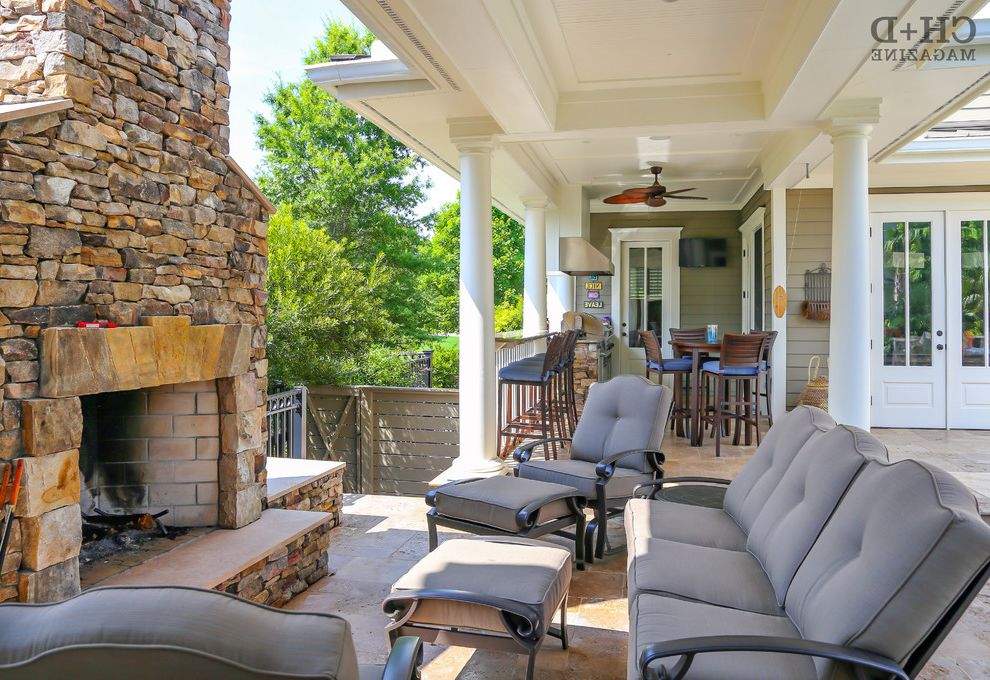 The Ordinary Charleston   Transitional Patio Also Columns Deck Extension Fireplace Outdoor Fireplace Outdoor Kitchen Remodel Stacked Fireplace Stone Fireplace