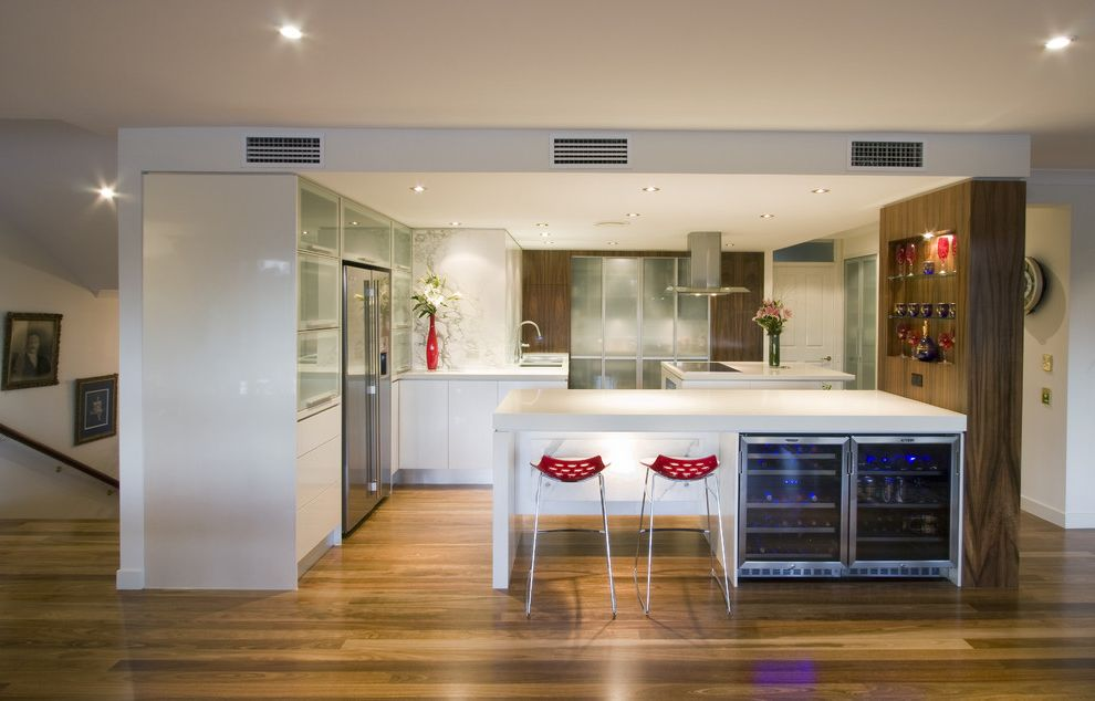 Under Counter Wine Fridge with Contemporary Kitchen Also Barstools Frosted Glass Cabinets Kim Duffin Kitchen Design Kitchen Renovations Layout Red Accents Stainless Steel Appliances Sublime Cabinet Design Walnut White Cabinets Wine Fridge Wine Storage