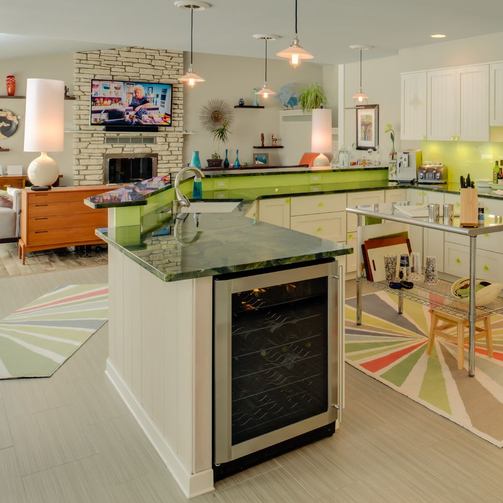 Under Counter Wine Fridge with Eclectic Kitchen Also Area Rug Double Counters Kitchen Cart Living Room Pendant Lighting Under Cabinet Lighting Wine Fridge