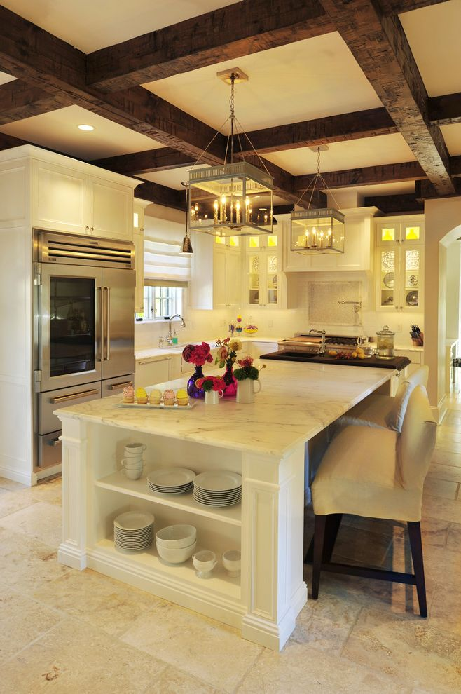 Urban Plates Irvine   Traditional Kitchen  and Beams Beckwith Interiors Bench Classic Counter Top Jamie Beckwith Kitchen Marble Mosaic Nashville Stone Tile White Wood