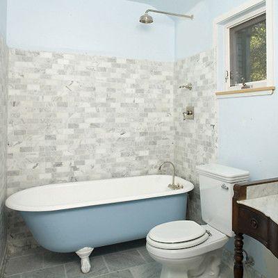 Used Clawfoot Tub   Rustic Bathroom  and Baby Blue Blue Tub Clawfoot Tub Light Blue Wall Rain Showerhead Tile