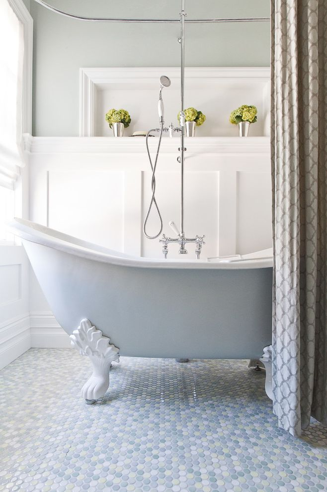 Used Clawfoot Tub   Traditional Bathroom  and Baseboards Board and Batten Claw Foot Tub Floral Arrangement Freestanding Bathtub Mosaic Tile Neutral Colors Pastel Colors Penny Tiles Shower Curtain Wainscoting White Wood Wood Molding