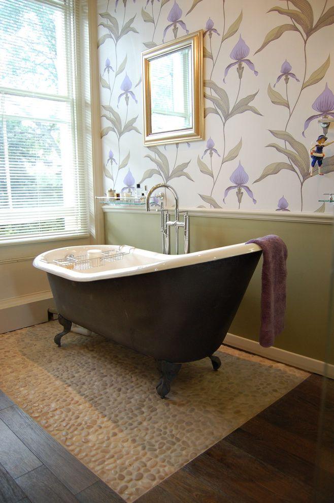 Used Clawfoot Tub   Victorian Bathroom  and Bathroom Window Claw Foot Tub Dark Floor Floral Print Wallpaper Pebble Tiles Wainscoting Wall Art Wall Decor Wallcoverings Window Blinds