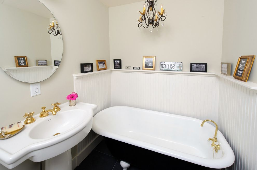 Used Clawfoot Tub with Shabby Chic Style Bathroom  and Beadboard Bend Chandelier Claw Foot Tub Claw Foot Tub Freestanding Bathtub Oregon Pedestal Sink Photo Ledge Small Bathrooms Wainscoting