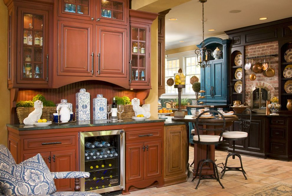 Vissani Beverage Cooler   Farmhouse Kitchen Also Breakfast Bar Ceiling Lighting Chandelier Eat in Kitchen Glass Front Cabinets Kitchen Hardware Pantry Recessed Lighting Rustic Tile Flooring Under Cabinet Lighting Wine Refrigerator Wood Cabinets