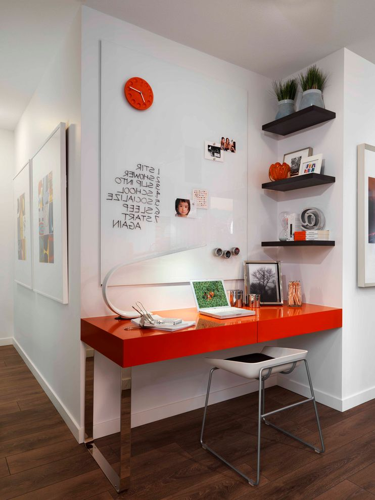 Westbrook Metals with Contemporary Home Office Also Black Shelves Dark Wood Floor Floating Shelves Glass Chat Board Laptop Table Open Shelving Orange Lacquer Desk Red Clock Red Desk Small Desk Wall Clock White Counter Stool White Task Lamp Workspace