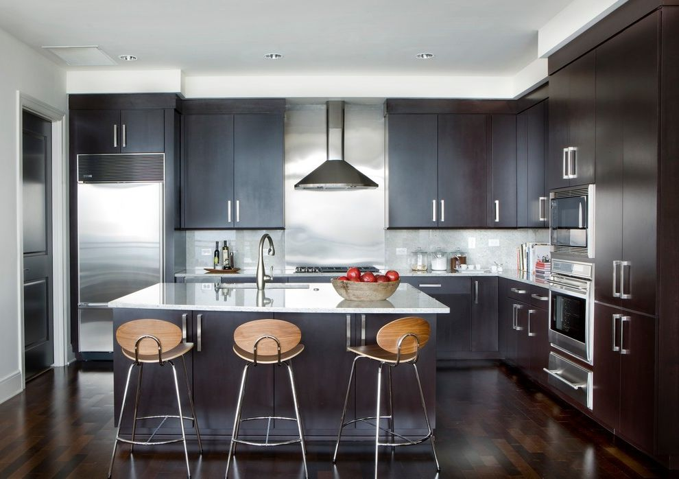 Westbrook Metals with Contemporary Kitchen  and Appliances Marble Island Modern Bar Stools Recessed Lighting Stainless Hood Wood Bar Stools