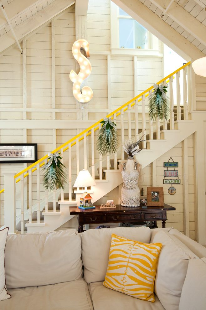 Westbrook Metals with Eclectic Staircase  and Beams Cathedral Ceiling Console Decorative Pillows Exposed Beams Lighting Neutral Colors Stairs