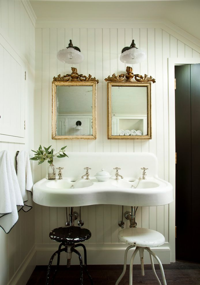 Westbrook Metals For Farmhouse Bathroom Also Beadboard Walls Built In Medicine Cabinet Distressed Metal Stools Distressed Wood Mirrors Glass Wall Sconces Finefurnished Com