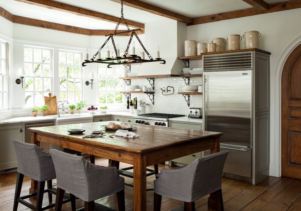 Westbrook Metals with Farmhouse Kitchen  and Bay Window Candle Chandelier Counter Stools Exposed Beams Open Shelving Pot Filler Rustic Counter Table