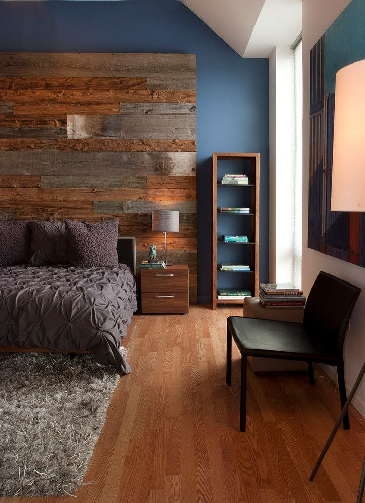 Whats a Duvet   Contemporary Bedroom  and Area Rug Barnwood Wall Bedroom Blue Bookshelves Nightstand Philadelphia Ruched Bedding Salvaged Wood Wood Floor
