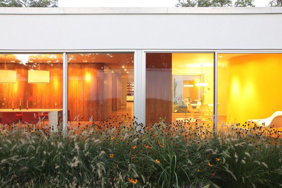 When to Plant Sunflowers   Modern Exterior  and Art Bathroom Calder Dining Table Eames Glass Grass Green Historic Landmark Landscape Leger Modern Pendant Lamp Planter Preservation Restoration Sliding Door Stucco Walnut White Roof