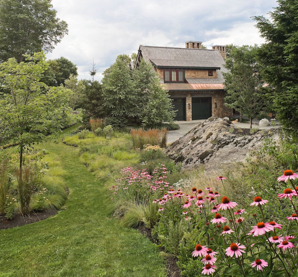 When to Plant Sunflowers with Traditional Landscape Also Boulders Grass Path Grasses Lawn Mass Plantings Naturalistic Path Pink Flowers Rocks Turf Walkway
