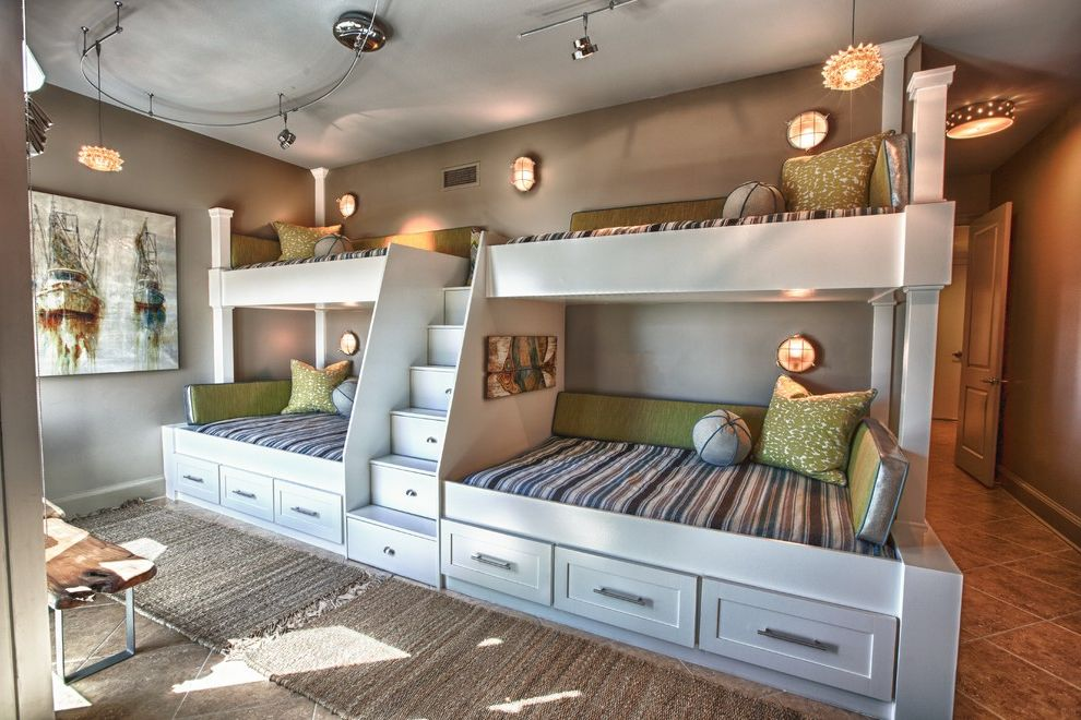 Width of Full Bed   Beach Style Kids Also Area Rug Artwork Bench Seat Bunk Beds Drawers Gray Green Pillows Ladder Live Edge Loft Bed Nautical Wall Sconces Stairs Steps Tile Floor Track Lighting White Painted Wood