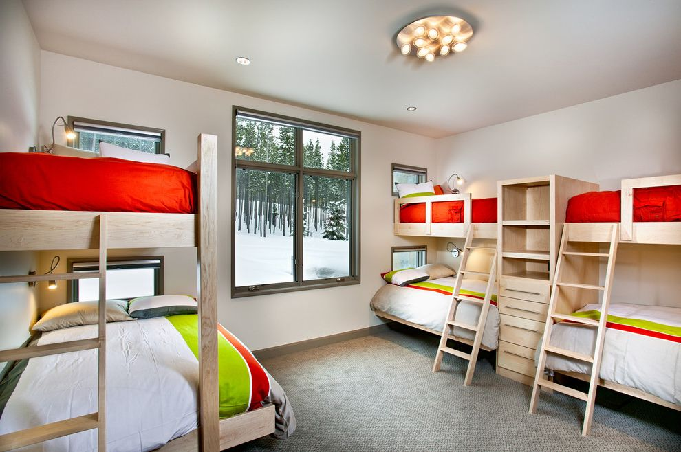 Width of Full Bed   Contemporary Bedroom  and Bunk Beds Cabin Ceiling Lighting Guest Bedroom Lodge Reading Light Sconce Shared Bedroom Wooden Beds