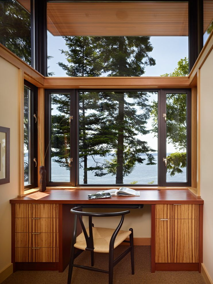 Aep Span   Modern Home Office Also Built in Desk Curved Back Chair Large Windows Office Alcove Officestudy with Water View Pine Trees Reading Nook Study Area Window Desk Wood Veneer Zebra Wood Cabinets