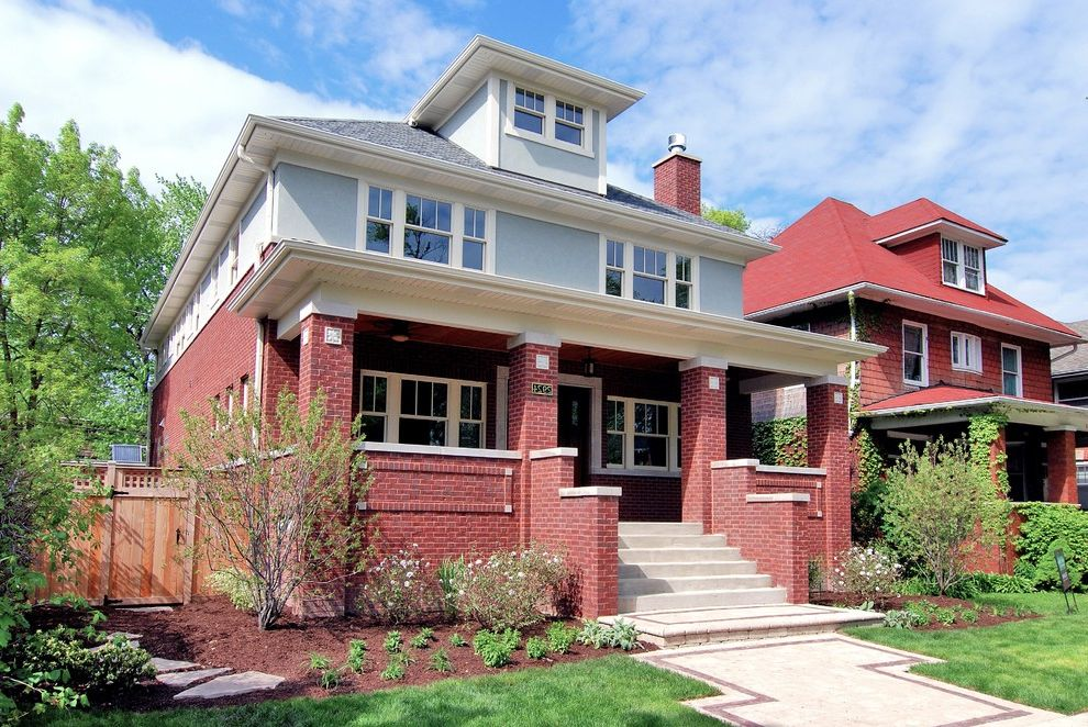 American Craftsman Windows   Craftsman Exterior  and Blue Wall Brick Wall Bungalow Dormer Windows Eaves Entrance Entry Front Door Grass High End House Numbers Lawn Luxury Overhang Paths Pavers Porch Prairie Stairs Steps Turf Walkways Wood Fencing