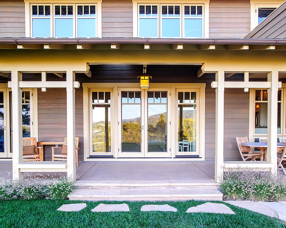 American Craftsman Windows with Craftsman Porch Also Covered Porch Craftsman Entry French Doors Grass Grasses Path Patio Furniture Pavers Porch Walkway Wood Siding
