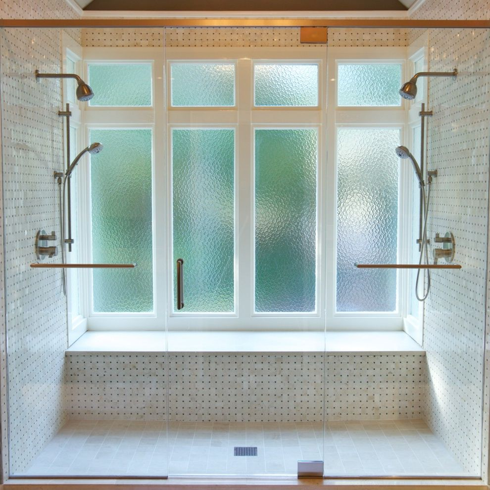American Craftsman Windows with Transitional Bathroom Also Accent Lighting Bay Window Double Shower Glass Shower Door Marble Privacy Glass Shower Shower Bench Shower Windows Two Person Shower Two Shower Heads Vaulted Ceilings