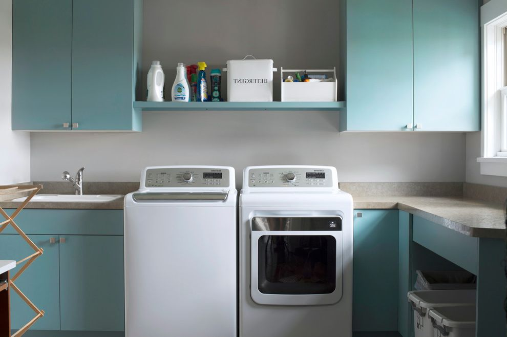 Best Top Load Washers   Transitional Laundry Room Also Beige Countertop Drying Rack White Trim