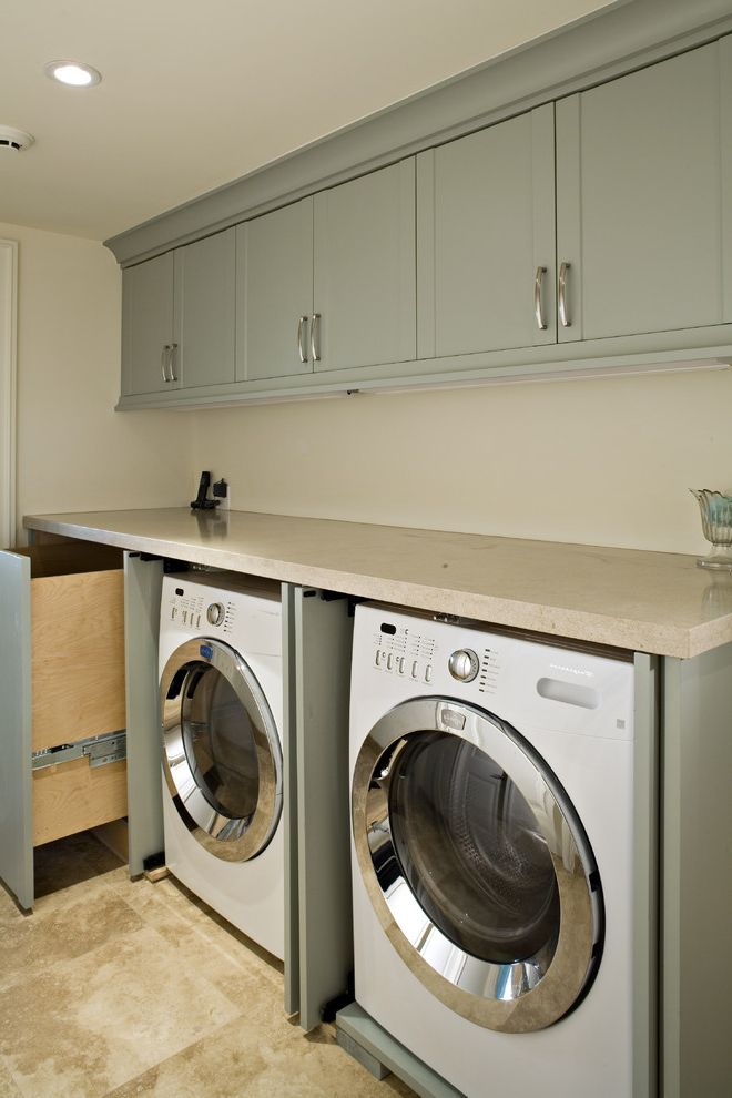 Best Top Load Washers   Transitional Laundry Room  and Blue Cabinets Laundry Room Limestone Countertops Limestone Flooring Mulit Use Pull Out Laundry Basket Small Spaces Solutions