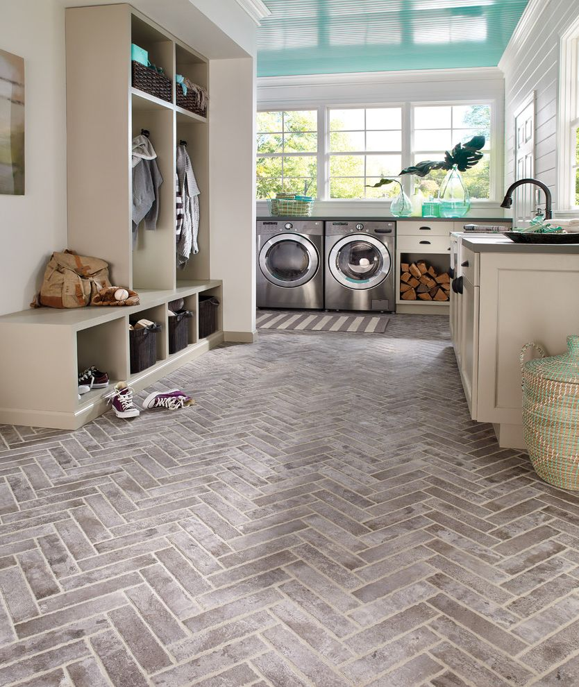 Big D Flooring with Beach Style Laundry Room Also Chevron Pattern Floor Tile Coat Hanger Cubby Storage Mudroom and Laundry Room Sea Glass Shiplap Stone Floor Teal Ceiling