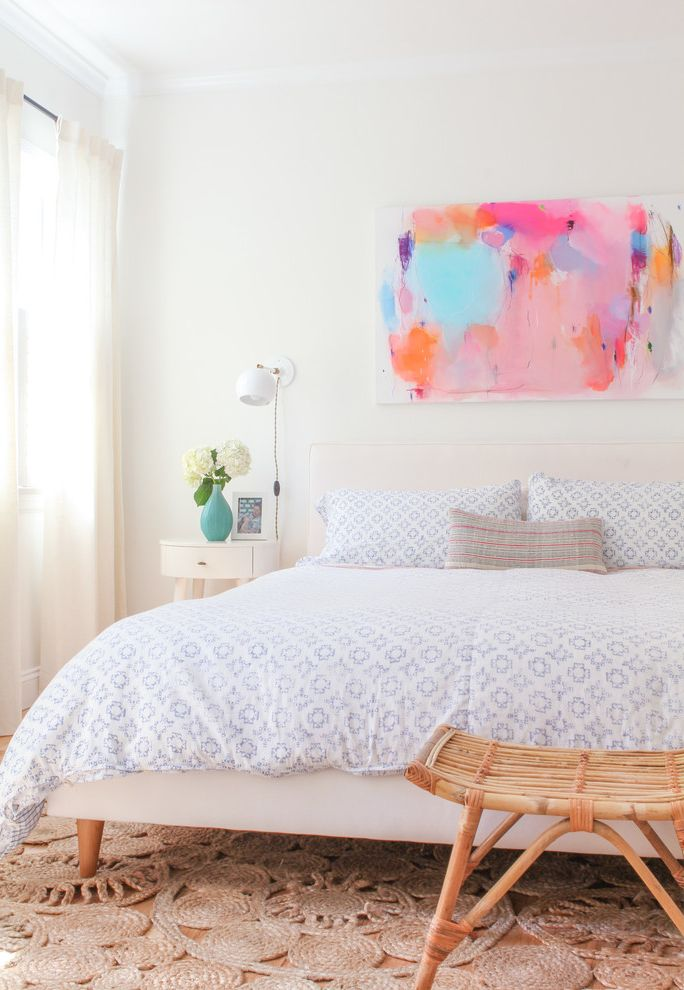 Capital City Lumber with Transitional Bedroom Also Abstract Art Bohemian Mid Century White Bed Frame White Curtains Wood Stool
