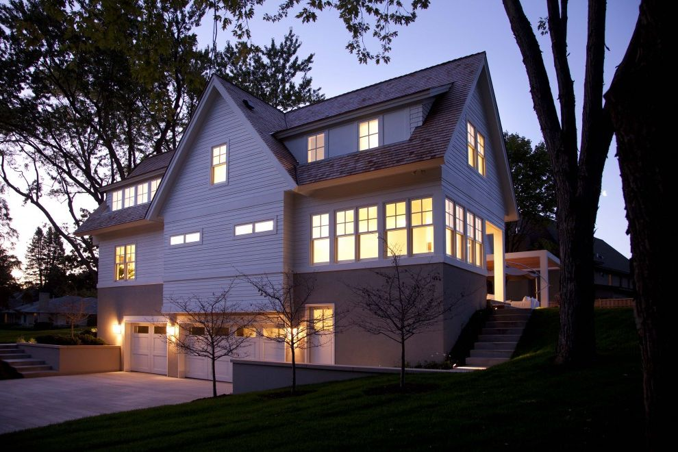 Gables Upper Kirby with Contemporary Exterior Also Corner Windows Dormer Windows Driveway Entrance Entry Garage Garage Doors Grass Hillside Lawn Outdoor Lighting Planters Sconce Slope Stairs Steps Sunroom Turf Wall Lighting White Wood Wood Siding