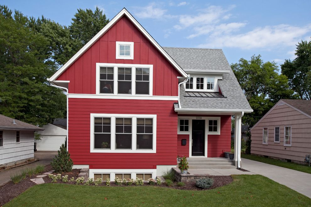 Gables Upper Kirby with Farmhouse Exterior  and Basement Black Door Concrete Driveway Concrete Steps Gable Landscaping Mulch Red Board and Batten Siding Red Horizontal Siding Red House Shed Dormer Square Windows Street Numbers White Raingutters