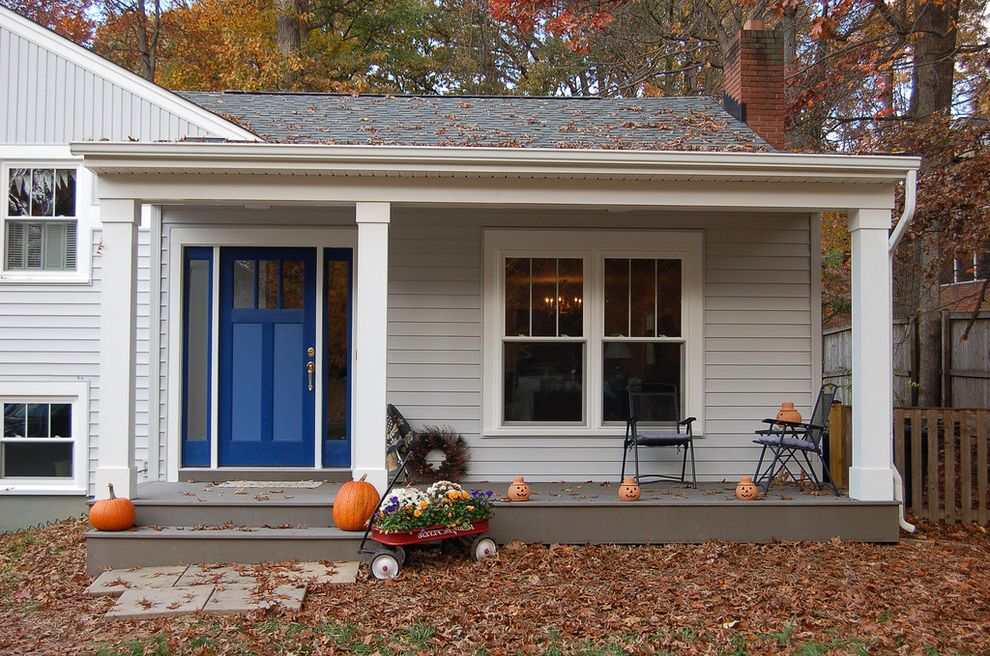 Gutters Lowes   Traditional Porch  and Blue Front Door Entry Fall Leaves Front Porch Lap Siding Pumpkins Sidelights Wagon White Pillars White Trim