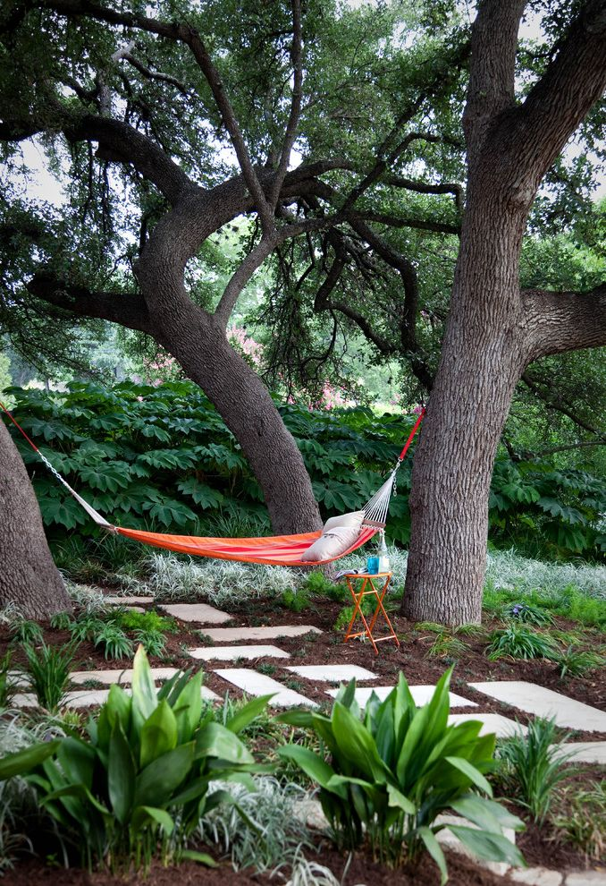 Hammocks with Stands   Contemporary Landscape Also Backyard Garden Hammock Hedge Landscape Mature Trees Oasis Orange Pillow Plantings Side Table Stepping Stones Stone Stonework Xeriscape