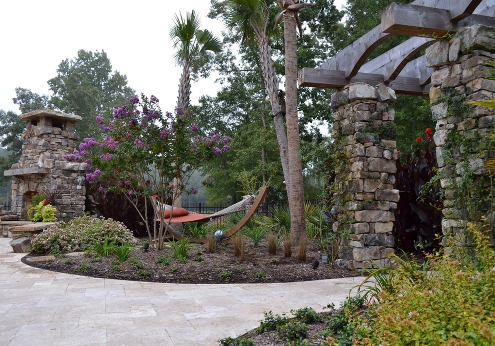 Hammocks with Stands   Eclectic Patio  and Berm Fireplace Hammock Hearth Mantel Palm Trees Path Pavers Pergola Stonework Timbers