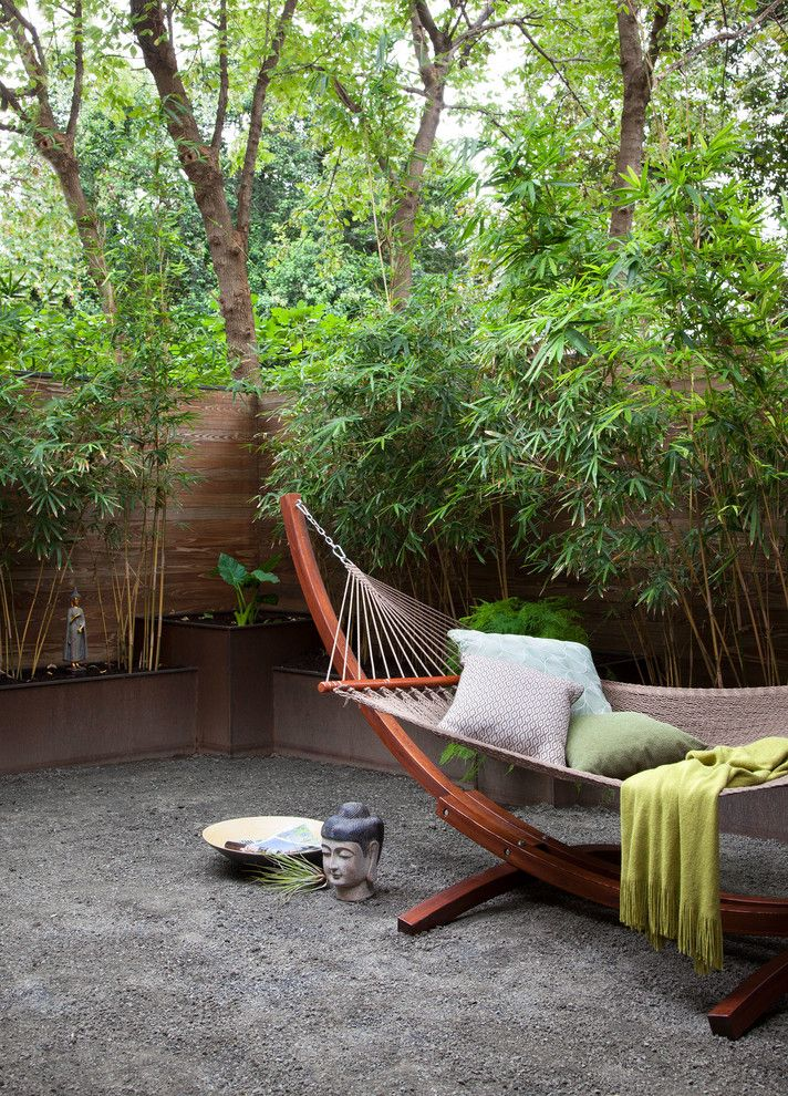 Hammocks with Stands with Asian Landscape Also Bamboo Fence Freestanding Hammock Gravel Meditation Courtyard Peaceful Throw Blanket