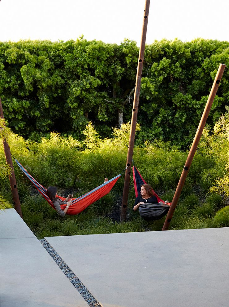 Hammocks with Stands with Contemporary Landscape  and Art Bamboo Concrete Grasses Hammock Walkway Water Basin Wiffle Poles